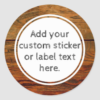 Faux Wood Grain Plank Custom Canning Jar Craft Classic Round Sticker
