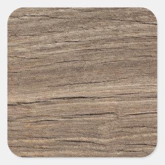 Faux Wood Grain Square Sticker