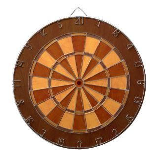 Faux Wood Inlaid Dart Board
