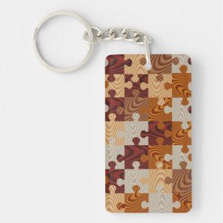 Faux wood jigsaw puzzle keychain