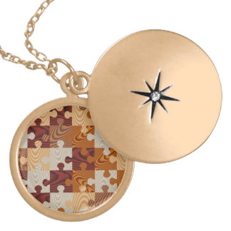 Faux wood jigsaw puzzle locket necklace