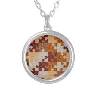 Faux wood jigsaw puzzle silver plated necklace