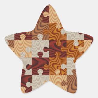 Faux wood jigsaw puzzle star sticker