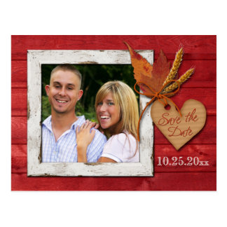 FAUX Wood, Leaves, Heart Save the Date Post Card
