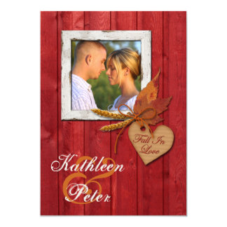 FAUX Wood, Leaves, Heart, Wheat PHOTO Wedding Card