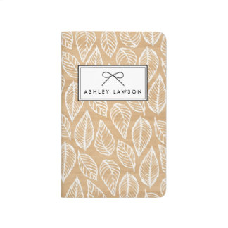 Faux Wood | Leaves Pattern Personalized Journal