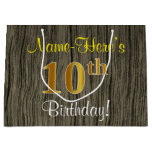 [ Thumbnail: Faux Wood Look, Faux Gold 10th Birthday + Name Gift Bag ]