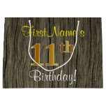 [ Thumbnail: Faux Wood Look, Faux Gold 11th Birthday + Name Gift Bag ]