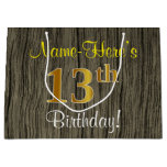[ Thumbnail: Faux Wood Look, Faux Gold 13th Birthday + Name Gift Bag ]