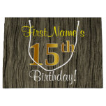 [ Thumbnail: Faux Wood Look, Faux Gold 15th Birthday + Name Gift Bag ]