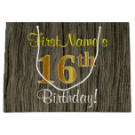[ Thumbnail: Faux Wood Look, Faux Gold 16th Birthday + Name Gift Bag ]