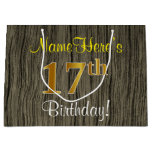 [ Thumbnail: Faux Wood Look, Faux Gold 17th Birthday + Name Gift Bag ]