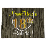[ Thumbnail: Faux Wood Look, Faux Gold 18th Birthday + Name Gift Bag ]