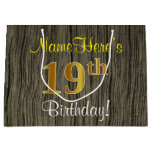[ Thumbnail: Faux Wood Look, Faux Gold 19th Birthday + Name Gift Bag ]