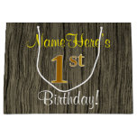 [ Thumbnail: Faux Wood Look, Faux Gold 1st Birthday + Name Gift Bag ]