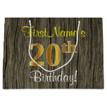 [ Thumbnail: Faux Wood Look, Faux Gold 20th Birthday + Name Gift Bag ]