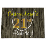 [ Thumbnail: Faux Wood Look, Faux Gold 21st Birthday + Name Gift Bag ]