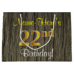 [ Thumbnail: Faux Wood Look, Faux Gold 22nd Birthday + Name Gift Bag ]