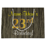 [ Thumbnail: Faux Wood Look, Faux Gold 23rd Birthday + Name Gift Bag ]