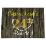 [ Thumbnail: Faux Wood Look, Faux Gold 24th Birthday + Name Gift Bag ]
