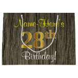 [ Thumbnail: Faux Wood Look, Faux Gold 28th Birthday + Name Gift Bag ]