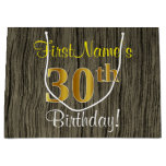 [ Thumbnail: Faux Wood Look, Faux Gold 30th Birthday + Name Gift Bag ]