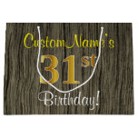 [ Thumbnail: Faux Wood Look, Faux Gold 31st Birthday + Name Gift Bag ]