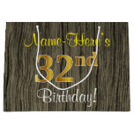 [ Thumbnail: Faux Wood Look, Faux Gold 32nd Birthday + Name Gift Bag ]