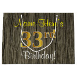 [ Thumbnail: Faux Wood Look, Faux Gold 33rd Birthday + Name Gift Bag ]