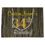 [ Thumbnail: Faux Wood Look, Faux Gold 34th Birthday + Name Gift Bag ]