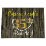 [ Thumbnail: Faux Wood Look, Faux Gold 35th Birthday + Name Gift Bag ]