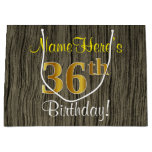 [ Thumbnail: Faux Wood Look, Faux Gold 36th Birthday + Name Gift Bag ]
