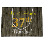 [ Thumbnail: Faux Wood Look, Faux Gold 37th Birthday + Name Gift Bag ]