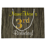 [ Thumbnail: Faux Wood Look, Faux Gold 3rd Birthday + Name Gift Bag ]