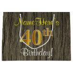 [ Thumbnail: Faux Wood Look, Faux Gold 40th Birthday + Name Gift Bag ]