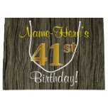 [ Thumbnail: Faux Wood Look, Faux Gold 41st Birthday + Name Gift Bag ]