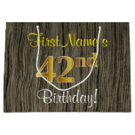 [ Thumbnail: Faux Wood Look, Faux Gold 42nd Birthday + Name Gift Bag ]