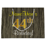 [ Thumbnail: Faux Wood Look, Faux Gold 44th Birthday + Name Gift Bag ]
