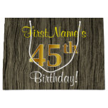 [ Thumbnail: Faux Wood Look, Faux Gold 45th Birthday + Name Gift Bag ]