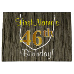[ Thumbnail: Faux Wood Look, Faux Gold 46th Birthday + Name Gift Bag ]