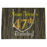 [ Thumbnail: Faux Wood Look, Faux Gold 47th Birthday + Name Gift Bag ]