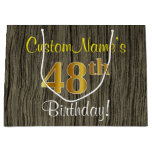 [ Thumbnail: Faux Wood Look, Faux Gold 48th Birthday + Name Gift Bag ]