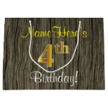 [ Thumbnail: Faux Wood Look, Faux Gold 4th Birthday + Name Gift Bag ]