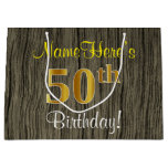 [ Thumbnail: Faux Wood Look, Faux Gold 50th Birthday + Name Gift Bag ]