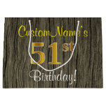 [ Thumbnail: Faux Wood Look, Faux Gold 51st Birthday + Name Gift Bag ]