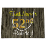 [ Thumbnail: Faux Wood Look, Faux Gold 52nd Birthday + Name Gift Bag ]