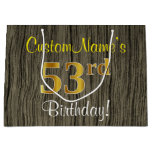 [ Thumbnail: Faux Wood Look, Faux Gold 53rd Birthday + Name Gift Bag ]