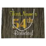 [ Thumbnail: Faux Wood Look, Faux Gold 54th Birthday + Name Gift Bag ]