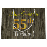 [ Thumbnail: Faux Wood Look, Faux Gold 55th Birthday + Name Gift Bag ]