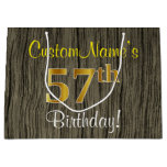 [ Thumbnail: Faux Wood Look, Faux Gold 57th Birthday + Name Gift Bag ]